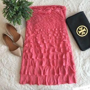 Express Strapless Ruffle Pink Mini Dress